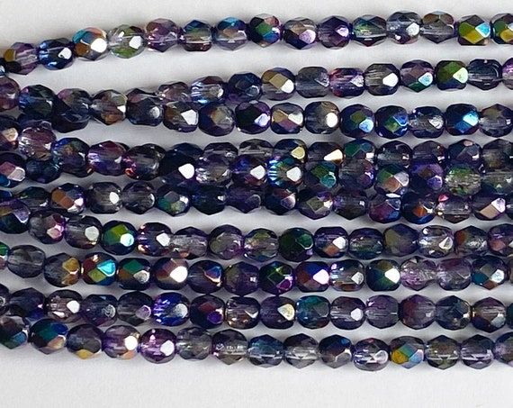 Magic Violet Grey 4mm Fire Polish Beads, Faceted 4mm Fire Polish Beads, 40 Beads Per Strand