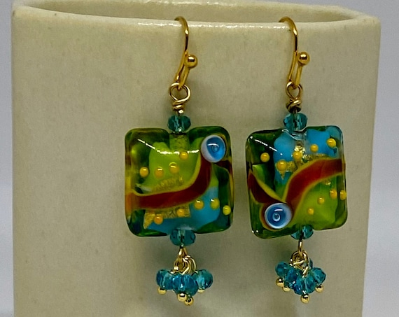 Amazon Parrot Lampwork Earrings with Faceted Blue Zircon in Gold Plate, Handcrafted Beads, Handcrafted Earrings