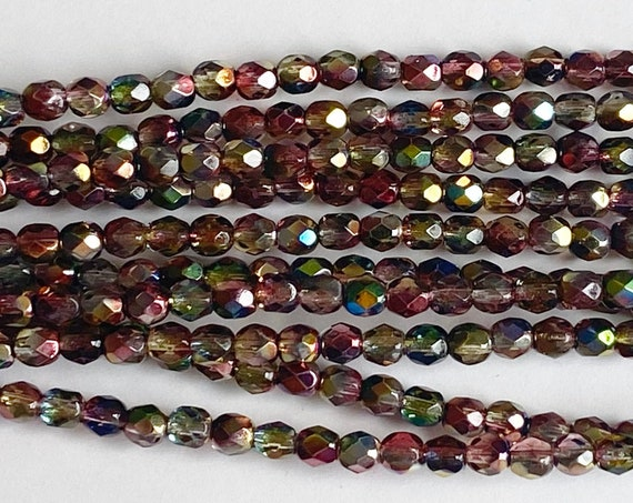 Magic Red Yellow 4mm Fire Polish Beads, Faceted 4mm Fire Polish Beads, 40 Beads Per Strand