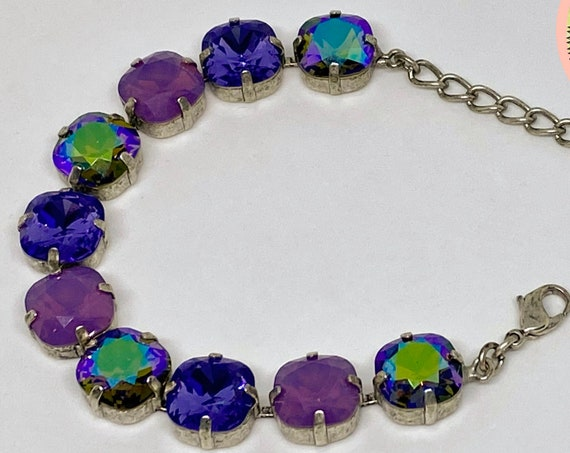 Tanzanite, Opal Cyclamen and Mossy Mist Swarovski Crystal Bracelet, 12mm Cushion Cut Crystals, Adjustable Length