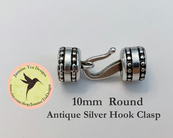 10mm Antique Silver Round Hook Clasp, Over All Measurement 33x13x13mm, Perfect For Size 6 Seed Beads, Kumihimo Beaded Braids