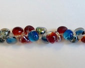Aquarium Mix Unicorne Beads, Boro Teardrops, 25 Beads Per Strand, Mixture of Original, Tumbled and Metallic Teardrops In Varying Colors