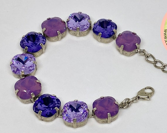 Cyclamen Opal, Tanzanite and Violet Swarovski Crystal Bracelet, 12mm Cushion Cut Crystals, Adjustable Length