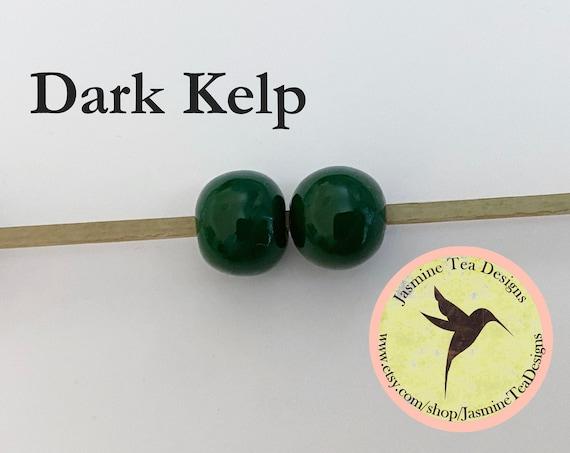 Dark Kelp Glazed Round Beads, Large Hole Beads For Kumihimo, Spacer Beads, Golem Beads, Set Of Two Beads