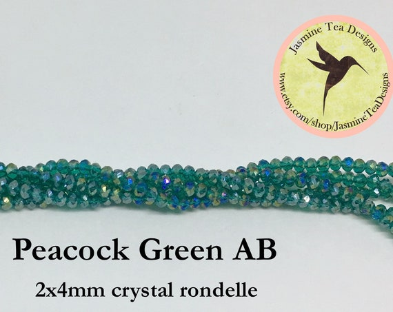 Peacock Green AB 2x4mm Crystal Rondelles, 60 Chinese Crystals Per Strand