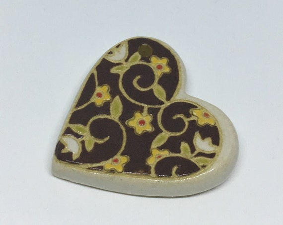 White Tulips And Flowers Swirled Heart Ceramic Pendant