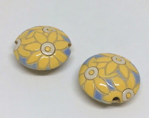 Bright Yellow Flowers On Light Blue, Lentil Beads, Ceramic Pendant Bead, Golem Design Studio Beads