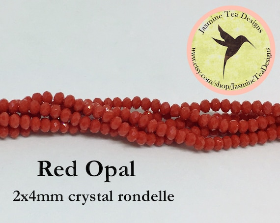 Red Opal 2x4mm Crystal Rondelles, 60 Chinese Crystals Per Strand