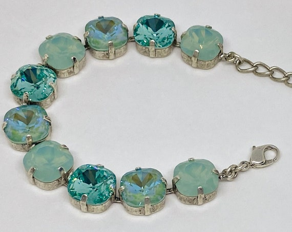 Silky Sage Delite, Blue Zircon and Pacific Opal Swarovski Crystal Bracelet, 12mm Cushion Cut Crystals, Adjustable Length