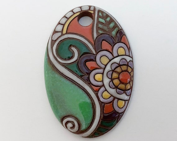 Paisley Flower Oval Pendant in Green, Purples, Orange and Yellow On Terracotta, Golem Design Studio Beads, Large Oval Pendant