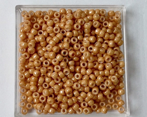 TOHO Opaque Luster Dark Beige, Size 8 Round Seed Beads, Color 123D, Butterscotch Opaque Luster