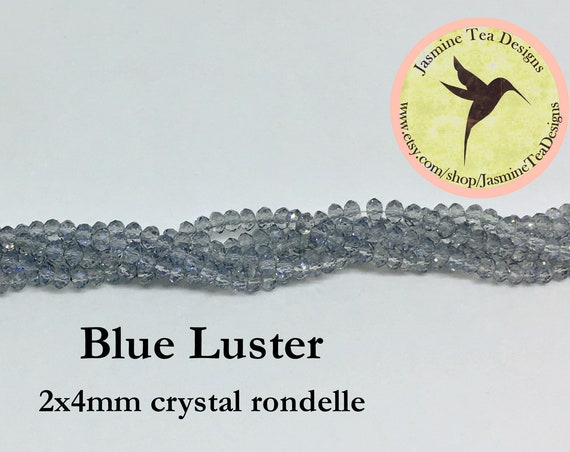 Blue Luster 2x4mm Crystal Rondelles, 60 Chinese Crystals Per Strand