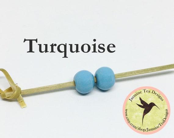 Turquoise Glazed Round Beads, Large Hole Beads For Kumihimo, Spacer Beads, Golem Beads, Set Of Two Beads