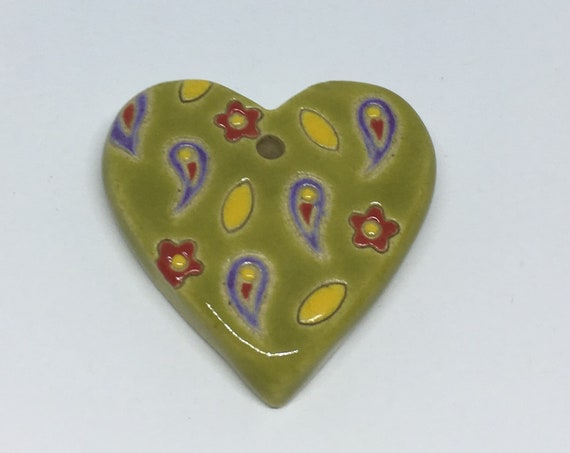 Paisley And Flower Heart Ceramic Pendant