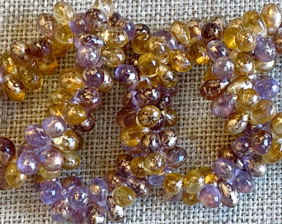 6x4mm Teardrop Beads In A Mix Of Grape And Yellow With Gold Flake, Teardrop Beads, Transparent, 50 Teardrops Per Strand