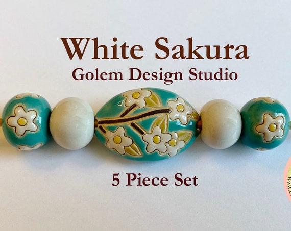 White Sakura 5 Piece Focal Set, Hand Carved and Hand Glazed Artisan Beads by Golem Design Studio