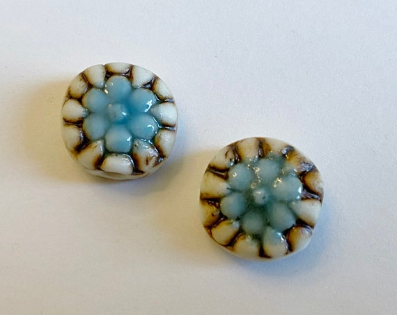 "Set of Two 1"" Round Flower Spacer Beads, High Fired Porcelain With Turquoise Glaze"