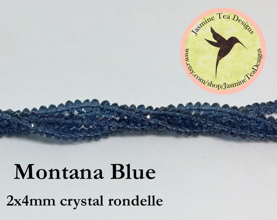 Montana Blue 2x4mm Crystal Rondelles, 60 Chinese Crystals Per Strand