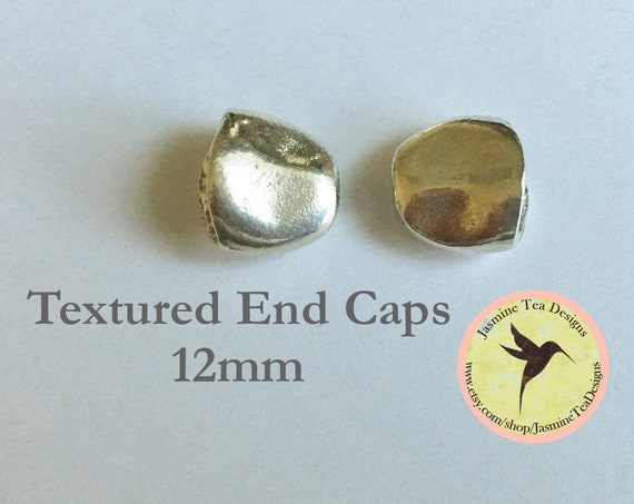 Pewter Mykonos Textured End Caps, 12mm, Set of 2 End Caps, Pewter Casting, Greece, Oval Kumihimo End Caps