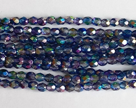 Magic Blue Pink 4mm Fire Polish Beads, Faceted 4mm Fire Polish Beads, 40 Beads Per Strand