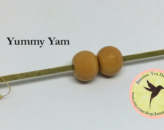 Yummy Yam Glazed Round Beads, Large Hole Beads For Kumihimo, Spacer Beads, Golem Beads, Set Of Two Beads