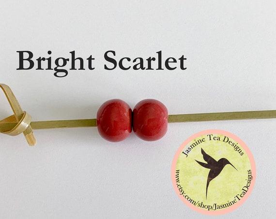 Bright Scarlet Glazed Round Beads, Large Hole Beads For Kumihimo, Spacer Beads, Golem Beads, Set Of Two Beads