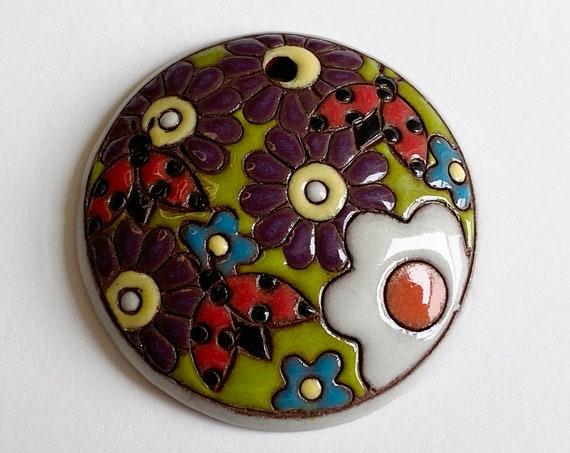 Ladybug Garden Pendant, Round Domed Ceramic Pendant Bead, Terra Cotta Pendant, Golem Design Studio, 1.5 Inches Round