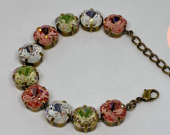 Rose Peach, Crystal and Luminous Green Swarovski Crystal Bracelet, 12mm Cushion Cut Crystals, Adjustable Length