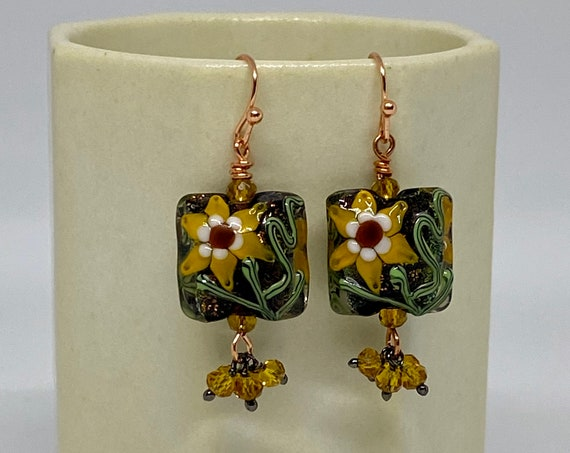 Sunflower Lampwork Earrings with Faceted Topaz in Copper, Handcrafted Beads, Handcrafted Earrings