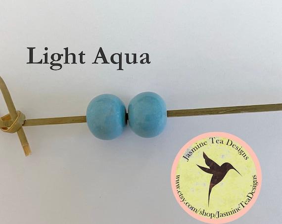 Light Aqua Glazed Round Beads, Large Hole Beads For Kumihimo, Spacer Beads, Golem Beads, Set Of Two Beads