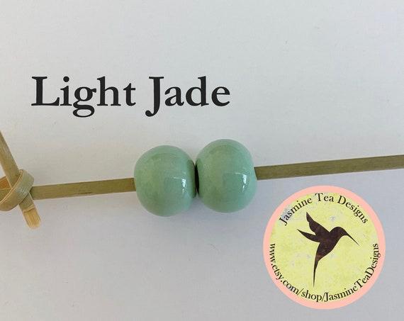 Light Jade Glazed Round Beads, Large Hole Beads For Kumihimo, Spacer Beads, Golem Beads, Set Of Two Beads