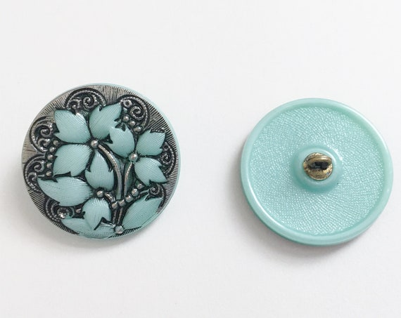Opaque Aqua With Silver And Black Floral Pattern 27mm Shank Button, Czech Glass Button