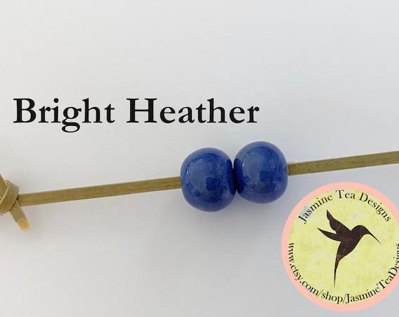 Bright Heather Glazed Round Beads, Large Hole Beads For Kumihimo, Spacer Beads, Golem Beads, Set Of Two Beads