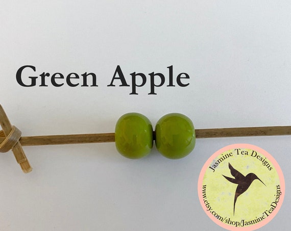 Green Apple Glazed Round Beads, Large Hole Beads For Kumihimo, Spacer Beads, Golem Beads, Set Of Two Beads