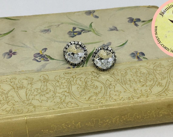 Swarovski Crystal Earrings Set In Antique Silver Plated Lever Back Setting With Eighteen Swarovski Rhinestones