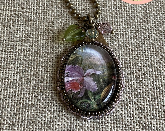 Orchids and Hummingbirds, From the Painting by Martin Johnson Heade,  Mixed Media 18 inch Necklace