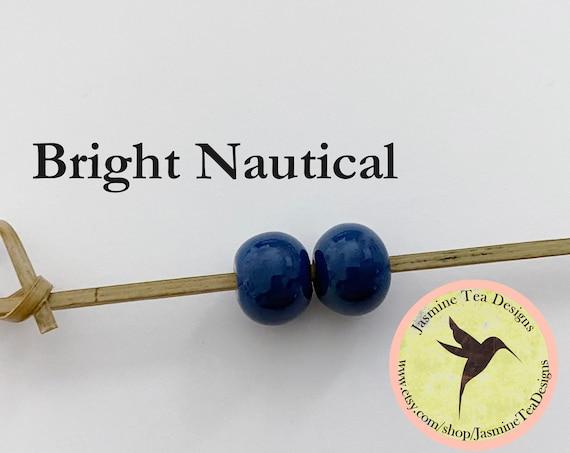 Bright Nautical Glazed Round Beads, Large Hole Beads For Kumihimo, Spacer Beads, Golem Beads, Set Of Two Beads