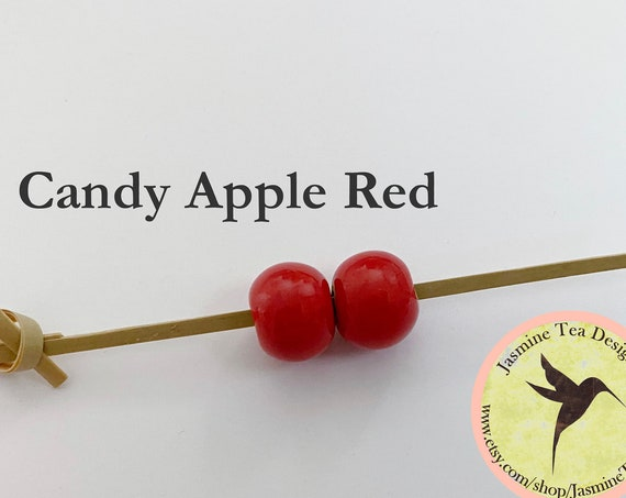 Candy Apple Red Glazed Round Beads, Large Hole Beads For Kumihimo, Spacer Beads, Golem Beads, Set Of Two Beads