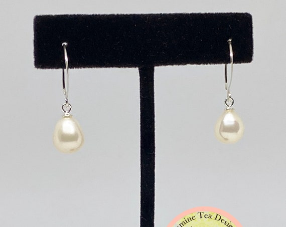 White Fresh Water Pearl Drop Earrings In Sterling Silver, Pearls Are AAA Quality And Measure 15x10mm, Sterling Silver Earring Hooks
