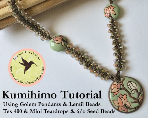 PDF Kumihimo Pattern, Magnolia Partially Beaded Kumihimo Necklace Tutorial, Tutorial Only, Instant Download