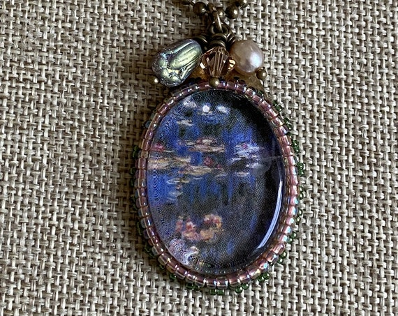 Monet's Water Lilies Mixed Media 18 inch Necklace with Bead Embroidery and Dangle Details on an Antique Brass Ball Chain