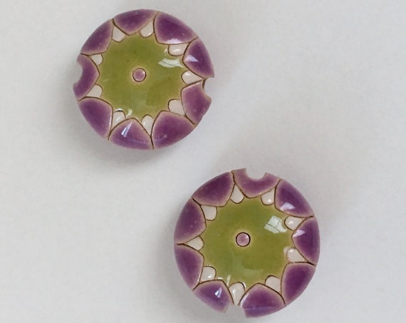 Sun Design in Lavender, Green and White, Pendant Beads, Large Hole Beads For Kumihimo, Golem Beads