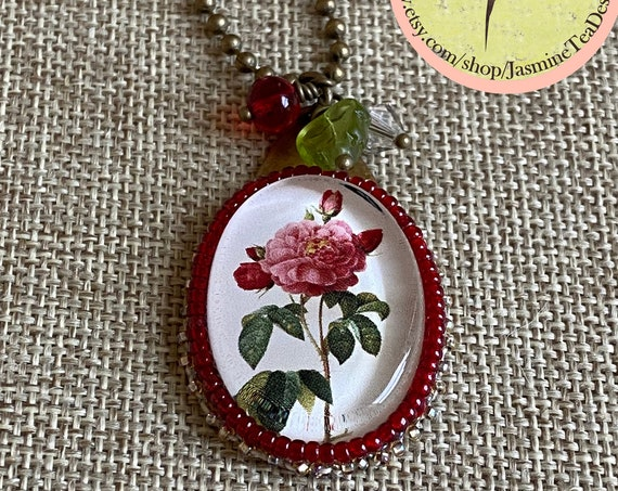 Red Garden Rose Mixed Media 18 inch Necklace with Bead Embroidery and Dangle Details on an Antique Brass Ball Chain