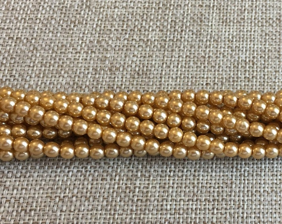 Gold Shiny 4mm Glass Pearls, 120 Pearls Per Strand