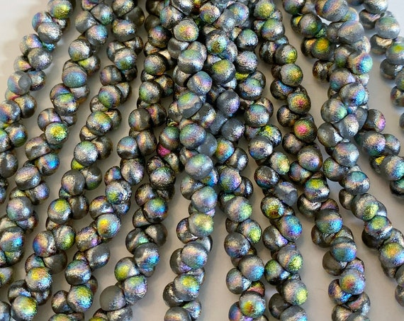 Northern Lights Etched 4x4mm Mushroom Beads, 50 Beads Per Strand, A Rare Size