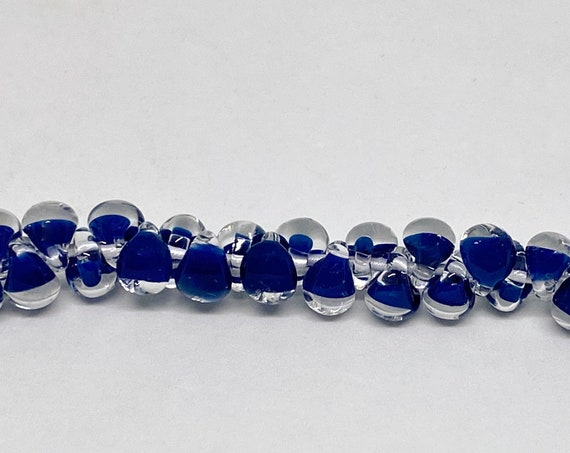 Boundless Blue Mini Boro Teardrop Beads, Made by Unicorne Beads In The USA, 25 Beads Per Strand