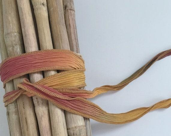 Harvest Festival, Hand-Dyed Silk Ribbon, Handmade Silk Ribbons, Fiber Artist Silk Ribbons