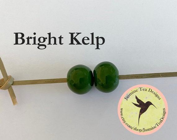 Bright Kelp Glazed Round Beads, Large Hole Beads For Kumihimo, Spacer Beads, Golem Beads, Set Of Two Beads