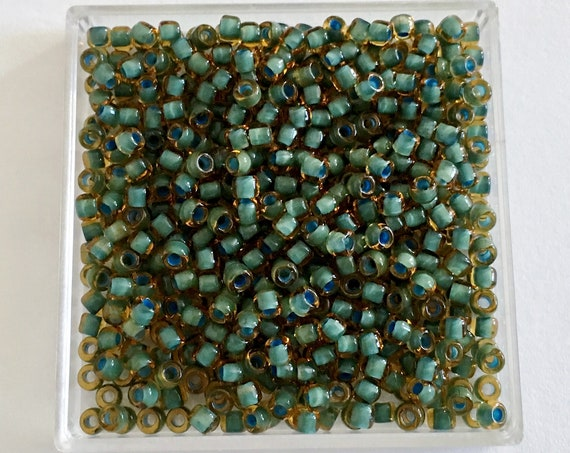 Matsuno Size 8 Seed Bead Color 399F, Transparent Topaz With Color Lined Seafoam Green, Size 8 Seed Beads, 3 Inch Tube