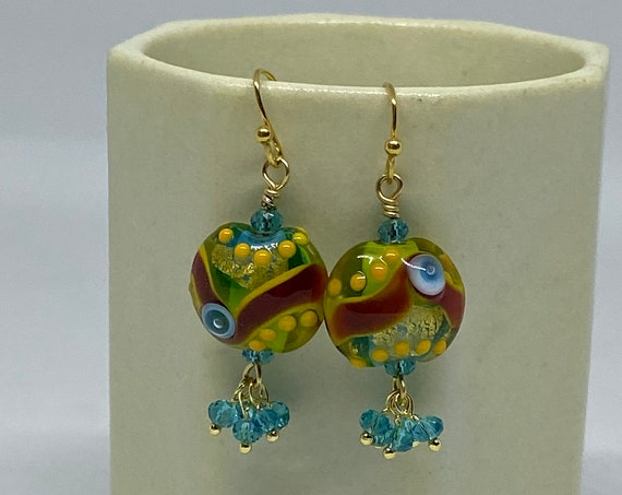 Amazon Parrot Lampwork Earrings with Faceted Blue Zircon in Gold Plate, Handcrafted Beads, Handcrafted Earrings, Lentil Earrings